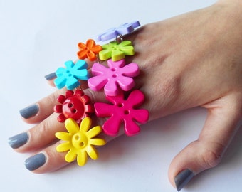 Flower Rings, Bright Buttons, Unusual Engagement Gift for Girlfriend, Alternative Token for Lover, Basket Idea for Girls, Unique Play Gift