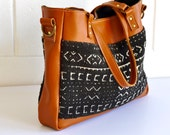 Leather Shoulder Bag - Mud Cloth & Leather Crossbody Tote - Leather Tote - Handmade in Australia