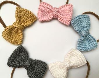 Classic Bow Baby Headband / Nylon Headband / Knit Baby Girl Bow