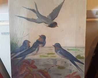 Antique Original Swallow Birds Oil Painting on Canvas