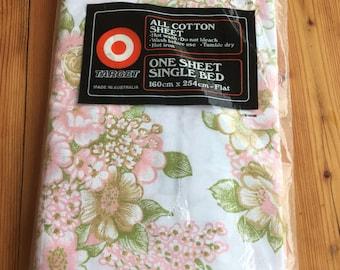Vintage  Bed Sheet- Green  and Pink Floral Bed Sheet- Vintage Single Bed Flat Sheet.-Made in Australia.