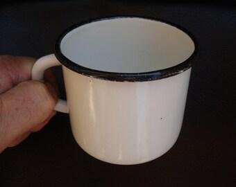 Soviet vintage enamel mug with a handle, White Black stripe,1970s