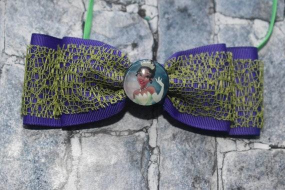 Disney princess tiana bow - Baby / Toddler / Girls / Kids Elastic Hairclip / Hair Barrette / Hairband / Headband / holiday gift