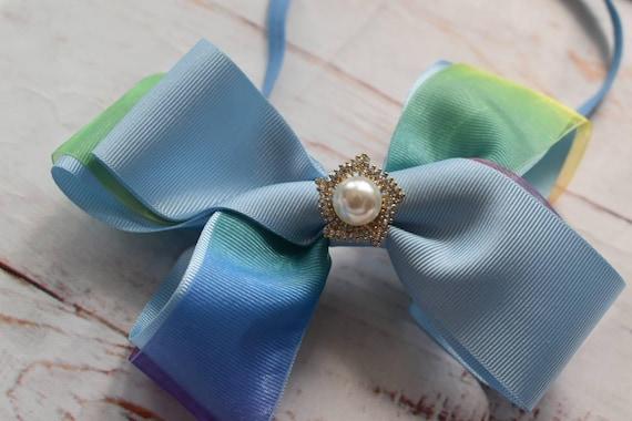 Blue rainbow bow headband - Baby / Toddler / Girls / Kids Headband / Hairband / Hair bow / Barrette / Hairclip