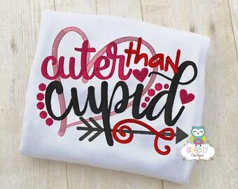 Cuter than Cupid Shirt or Bodysuit, Girl Valentine Shirt, Valentines Day Shirt, Valentines Day Outfit, Girls Heart Shirt