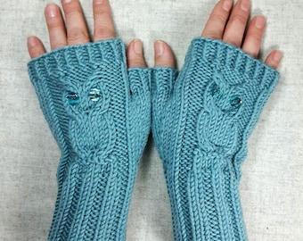 """Fingerless Gloves """"Owls"""" mint, handknitted mittens for women, wool, owl wrist warmers"""