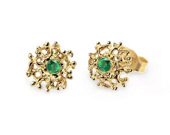 CORAL Gold Emerald Earrings, Gold Earrings Posts Medium, Gold Emerald Posts,  Emerald Stud Earrings, Gold Stud Earrings, Organic Earrings