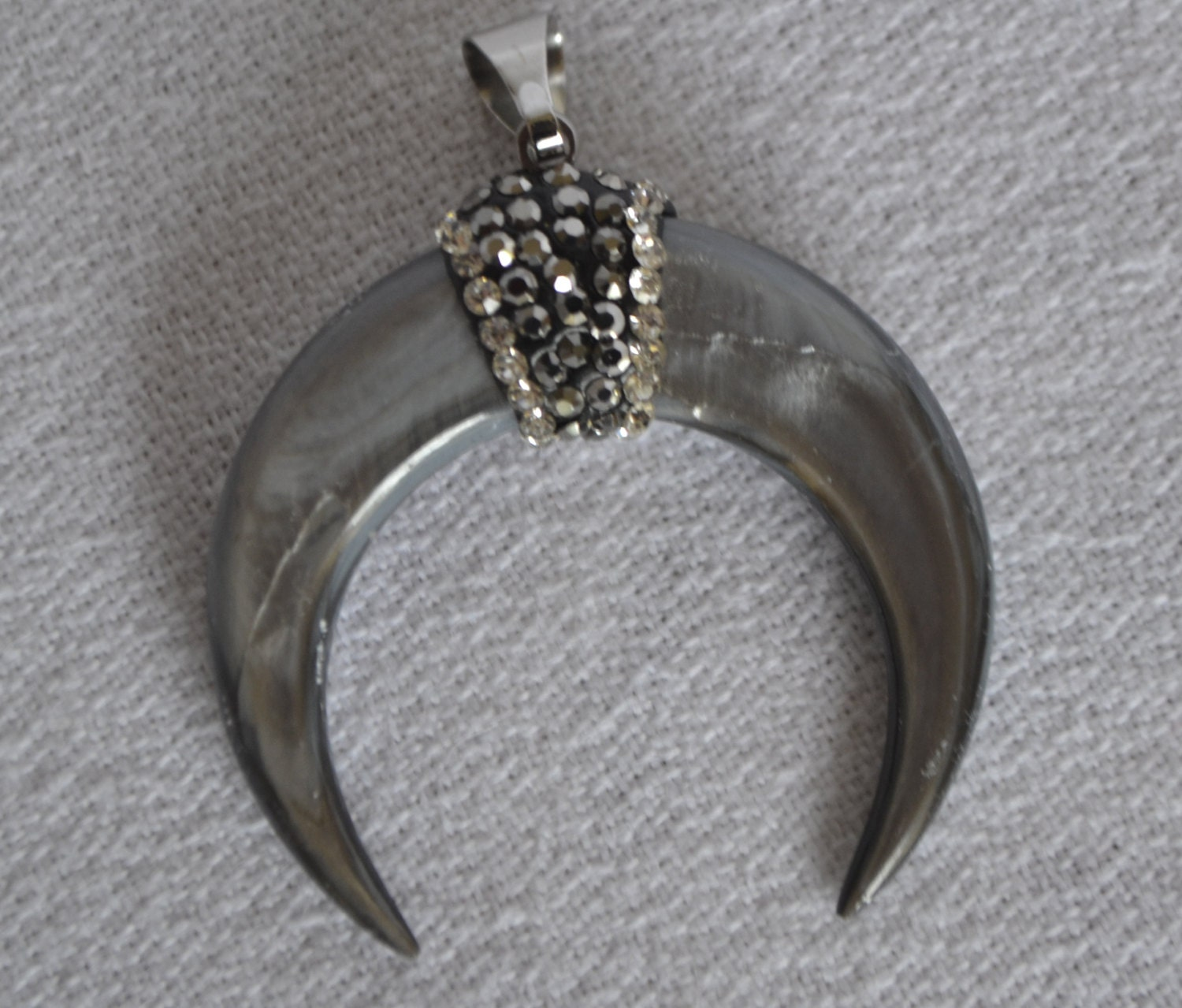 Crescent Horn Necklace: Double Horn Pendant Crescent Horn Pave Pendant Mother Of
