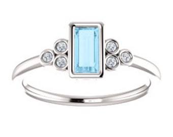 Aquamarine Baguette Ring, White Sapphire Gemstone Sterling Silver