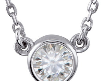 Petite Moissanite Solitaire Necklace, Gemstone Pendant, Sterling Silver