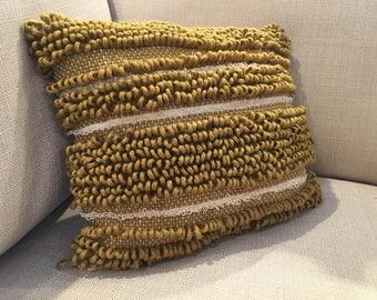Textured Mustard and Cream Throw Pillow