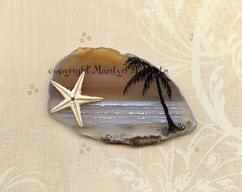 HAND PAINTED AGATE; tropical scene, palm tree, real starfish, metal stand, original art, one of a kind, shelf art,