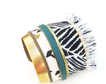 Ethnic chic bohemian bracelet cuff metal, leather, chain, black zebra fabric, white, green