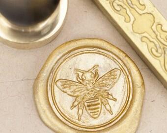 Honey Bee Wax Seal Kit | Gold Sealing Wax Stamp, Gardener, Pollinator, Sealing Wax Entomology, insect wax seal Science Gift