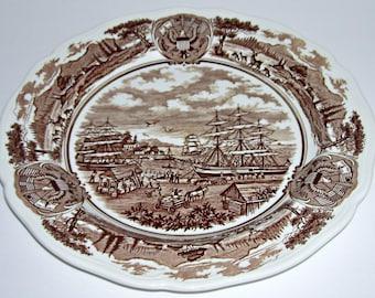 4 Meakin American Legend Patriotic Ships Brown Transferware Dinner Plates