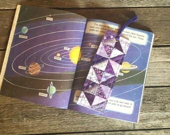 Quilt Block Bookmark, Purple half square pattern