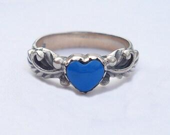 Vintage JC Sterling Silver Dark Turquoise Blue Enamel Glass Heart Ring 5