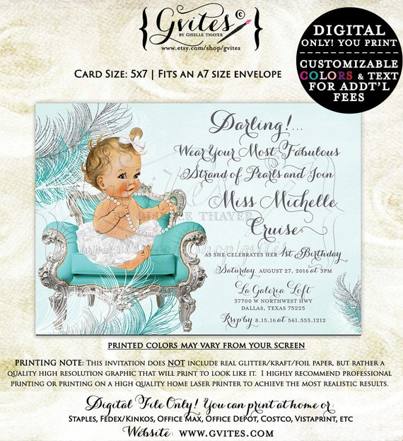 First Birthday party invitations, baby girl, breakfast at birthday first, 1st and co printable baby girl invites, {You Print}