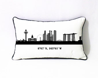 city skyline lumbar pillow case-custom coordinate gift-valentines gift for boyfriend-city landscape sofa pillow-cotton anniversary gift