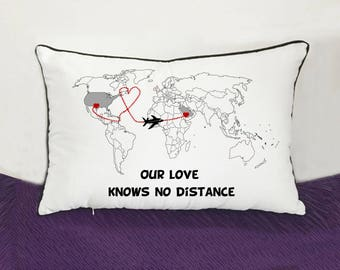 custom couple bedding cushion cover-long distance boyfriend gift-personalized world map pillow-valentines gift-our love knows no distance