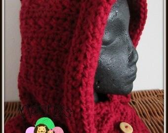 Crochet Claret red Snood - Teen/Adult