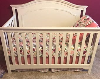 CRIB Bedding Set - Spoonflower Bedding Collection - Josie Floral by Sweeter Than Honey - Purple, Mint, Pink, Black, Gray, Magenta