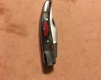 Green and Burgundy Wood Pocket Knife Necklace
