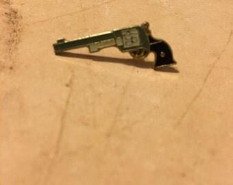 White Revolver Lapel Pin