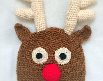 Rudolph Reindeer Hat -  Kids Costume - Toddler Costume - Baby Costume