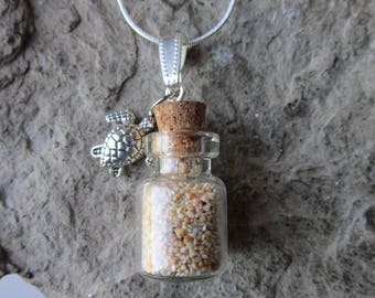 Pink Bermuda Beach Sand in a Pretty Glass Bottle with Real Cork and Sea Turtle Charm Necklace - St. Catherine's Beach - Bermuda Sand