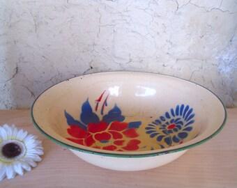 Vintage Enamel wash basin water bowl Bumper Harvest Large enamel bowl Colourful & decorative stenciled flowers design