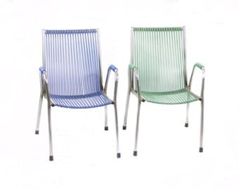Couple Child Chair Grid Scoubidou Grid. France 60s.