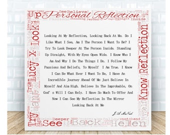 Personal Reflection Inspirational Poem Ceramic Word Art Plaque. Personalised Gift