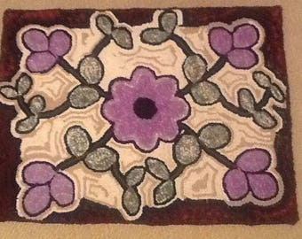 Hand hooked wool rug,24x31.5 purple flowers, made on burlap hand cut wool.