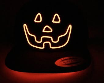 Light Up Jack O Lantern Hat made with El Wire in all colors; blue, green, orange, yellow, pink, purple, white