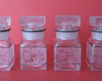 Set of Four (4) Acid-Etched Apothecary Jars With Lids