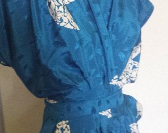 DONNA KAREN DKNY Beautiful Ladies Vogue Tea Day Dress Blue Satin White Butterflies