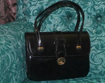 1950s 60s Black Patent Leather Purse Handbag Pocketbook