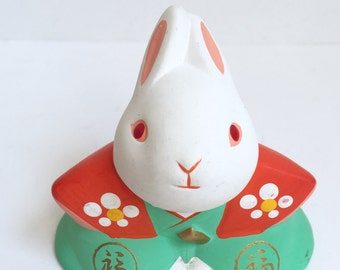 Vintage Good Luck Charm Hand-Painted Matte Bunny Figurine Decoration /Year of the Rabbit Chinese Zodiac / Trinket