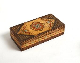 Vintage handmade wooden box case, vintage jewelry box, handmade jewelry box