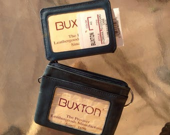 Buxton Wallet, Ladies Wallet, buxton coin case, genuine leather wallet,leather ID card, blue leather wallet, genuine leather coin case