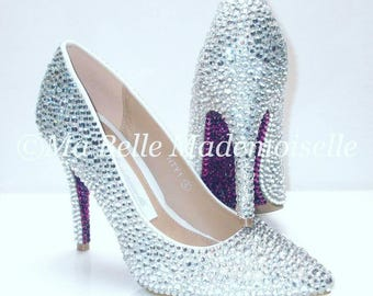 Custom Crystal Shoe's send your own shoes to be strassed !! Bridal shoes, Wedding shoes, Party Shoes, Prom Shoes