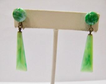Vintage Jadite Glass Earrings Item  W # 121