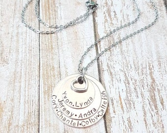 Family Pride multi layered hand stamped names necklace three layered disk pendant