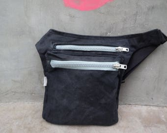 Black Hip Bag Waxed Canvas, Waxed Canvas Pouch, Travel Belt Beg, Festival Pouch Bag, Belt Purse