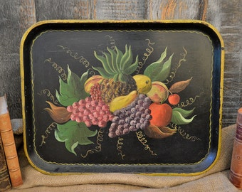 Vintage Tole Tray Black Fruit Design Rectangular Bolt A Bilt Serving Tray