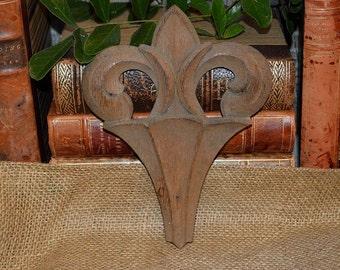 Antique French Wood Fleur De Lis Trim Medallion Carved Oak Pediment