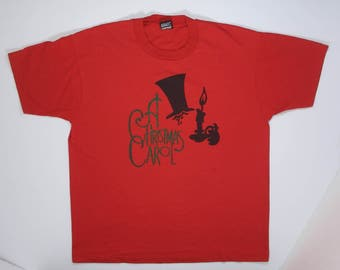 80s Red T Shirt tee Christmas Carol Musical soft thin L/XL theater hipster actor acting nerd playhouse xmas Ebenezer Scrooge