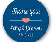 """1"""" or 1.25"""" inch Glossy Round Sticker Label Tags - Custom Wedding Favor & Gift Tags - Thank You Heart"""