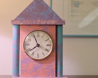PoMo Teal Pink Purple Abstract Mantle Clock - Memphis Milano Style Columns and 90s Colors